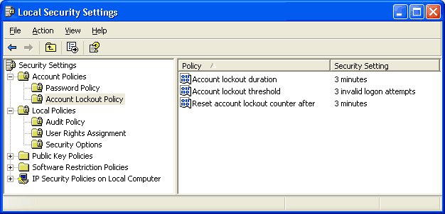 Screen shot showing a minimal account lockout policy