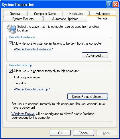 Screen shot showing remote desktop control panel tab