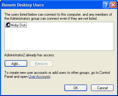 Screen shot showing remote desktop screen