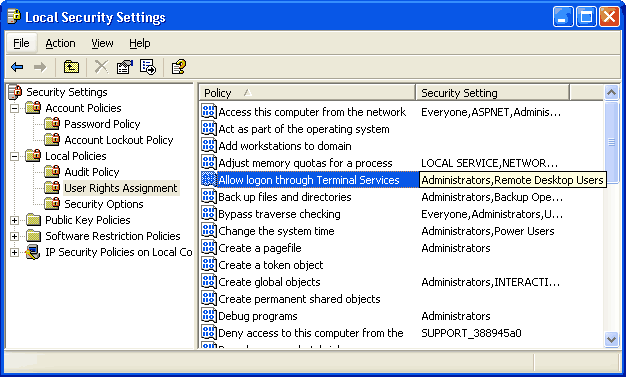 Screen shot showing local security settings