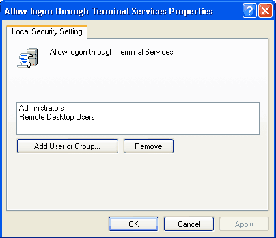 Screen shot showing Terminal Services users