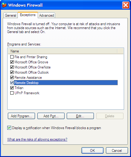 Windows Firewall control panel screen shot