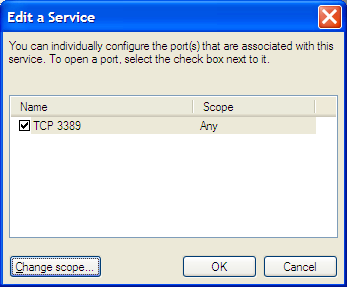 Windows Firewall TCP port screen shot